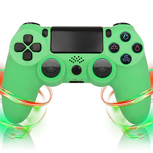 QLOVE Mando para Playstation 4, Inalámbrico Controlador para PS4/Pro/Slim Wireless Controller Bluetooth Gamepad Joystick con Vibración Doble Jack de Audio de Seis Ejes,Verde