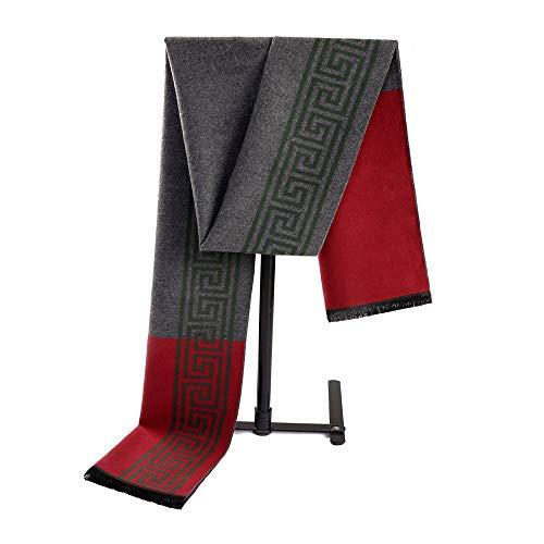 Dhmm123 Bufandas cálidas Hombres Bufanda de Invierno Bufanda a Cuadros de Invierno Regalos Elegantes Fiestas Elegantes Borla (Color : Gray, Size : OneSize)