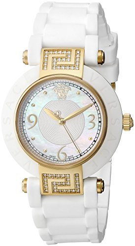 Versace Women's 92QCP11D497 S001 Reve IP Yellow-Gold White Ceramic Rubber Watch