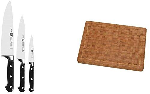 mächtig der welt Zwilling Professional S Messerset, schwarz, 3 Stück, mit passendem Zwilling Bamboo Schneidebrett.