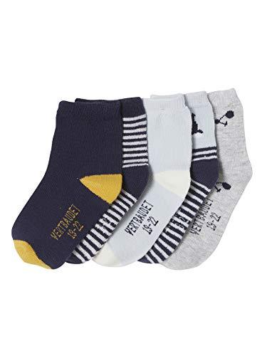 VERTBAUDET Lote de 5 pares de calcetines medianos para bebé niño AZUL MEDIO ESTAMPADO 15/18