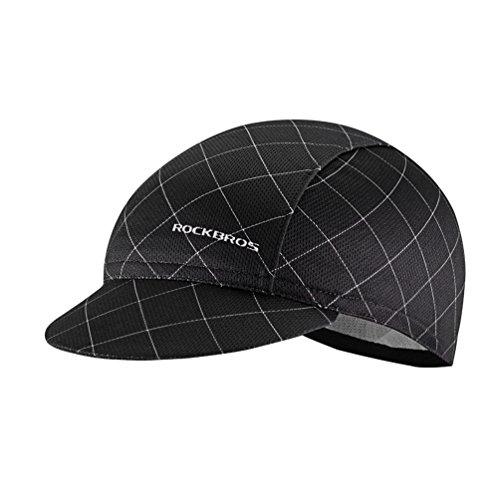 ROCKBROS Sport Kappe Mütze Cap Fahrradmütze für Helm Sport Hut Atmungsaktiv Anti-Schweiß UV-Schutz(Schwarz)