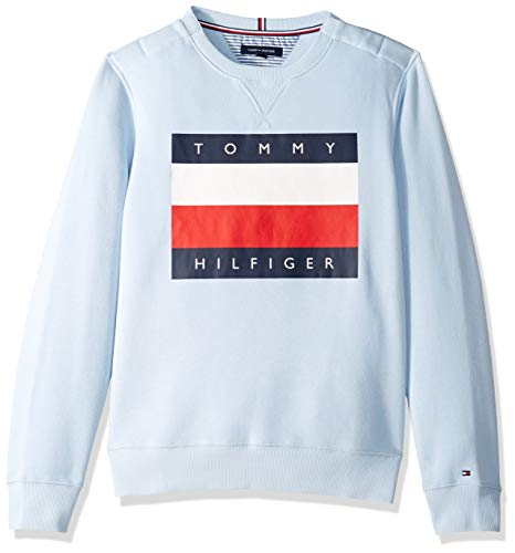 Tommy Hilfiger Men's Adaptive Sweatshirt with Magnetic Buttons at Shoulders, Skyway-Print Peach, Large