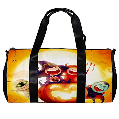 Anmarco Duffel Bag for Women Men Halloween Kids Costume Party Sits on Pumpkin Sports Gym Tote Bag Weekend Overnight Travel Bag Outdoor Luggage Handbag