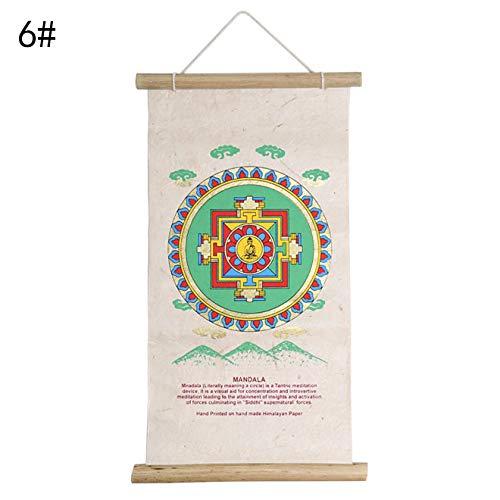 ZSPSHOP Vieux Papier Népalais Fait Vieux Portrait De Thangka Bouddha Ornements Colorés Suspendus des Parchemins De Bon Augure Huit,6#
