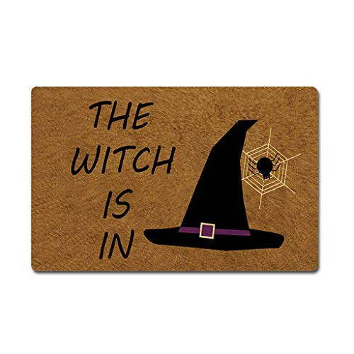 Eureya - Felpudo de goma para Halloween, diseño de bruja, 40 x 60 cm