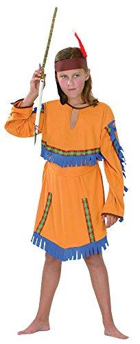 Bristol Novelty CC377 Costume de Fille Indienne Budget Taille L, Age 7-9 Ans, Bleu, Grand