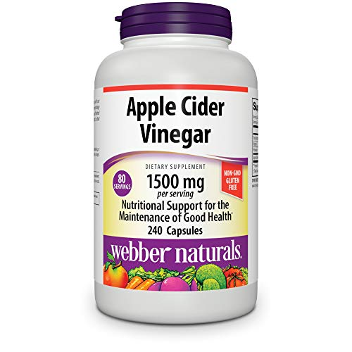 Webber Naturals Apple Cider Vinegar Pills, 1,500 mg per Serving, High Potency, 240 Capsules, Natural Digestion, Metabolism, Weight & Detox Support, Non-GMO, Gluten, Dairy & Sugar Free