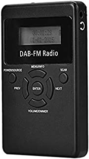Digital Media Players HRD-101 Portable Mini Digital DAB+FM Radio with Lanyard & Headset(Black) (Color : Black)