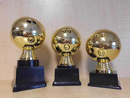 Fanshop Lünen Bowling - Bowlen - Pokal 3er Serie - Figuren - Turnier - Kids - Trophäe - Pokale - (Gold) - mit Gravur - (pf306) -