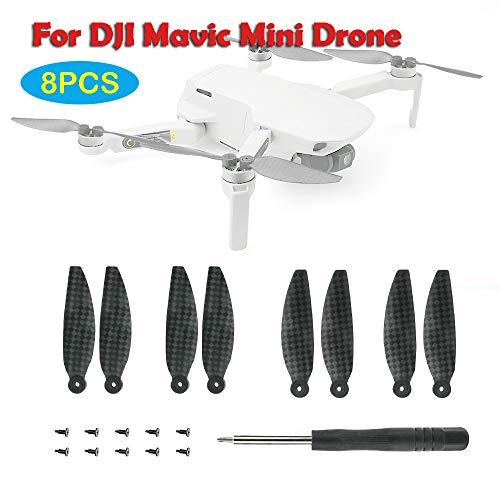 Luccase - 8 piezas de fibra de carbono para hélices plegables compatibles con DJI Mavic Mini Drone – Reemplazo de helicóptero cuadricóptero