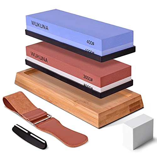 Knife Sharpening Stone Set, Whetstones Premium Knife Sharpener Kit Double-Sided Grits 400/1000 3000/8000 Premium Water Stones with Non-slip Bamboo Base Leather Strop Angle Guide Flattening Stone
