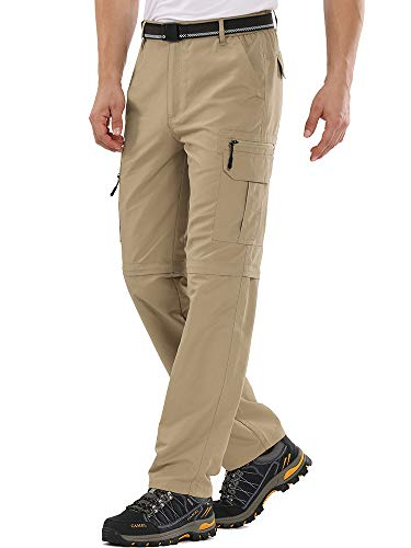 Men's Hiking Convertible Pant,Moisture Wicking, Sun Protection Cargo Zip Off Trouser #6101 Khaki-30