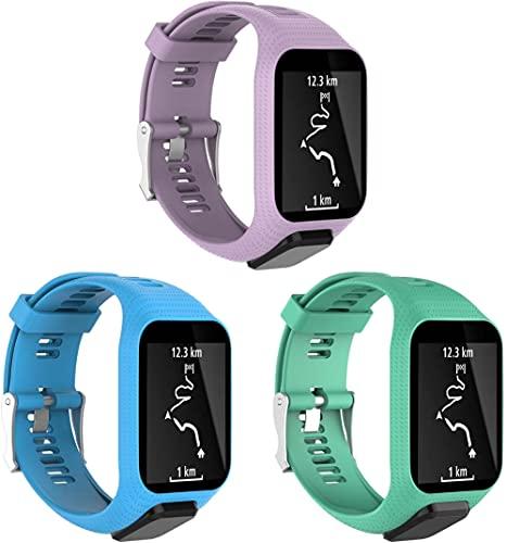 Classicase Compatible con Tomtom Spark/Spark 3 / Runner 2 / Runner 3 / Golfer 2 / Adventurer Correa de Reloj, Banda de Reemplazo Silicona Suave Sports Pulsera (3-Pack I)