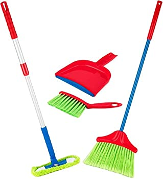 Play22 Kids Cleaning Set 4 Piece - Toy Cleaning Set Includes Broom Mop Brush Dust Pan - Toy Kitchen Toddler Cleaning Set is A Great Toy Gift for Boys & Girls - Original