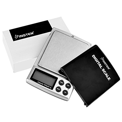 INSTEN Digital Scale for Kitchen Jewelry, Pocket Sized, Refined Accuracy Detail up to 0.1g, (0g to 1000g), Stainless Steel Scale with Backlight LCD Display, Unit g/oz/ozt/DWT/ct, Silver