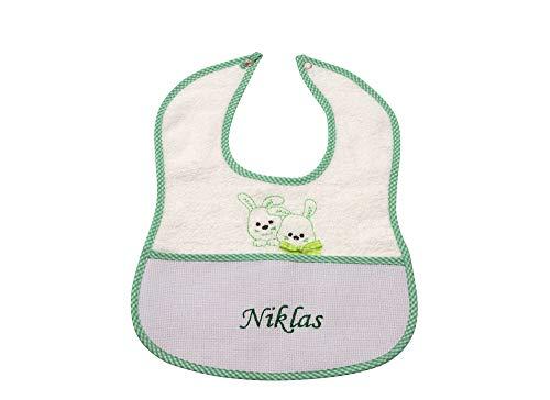 my STITCHERY® Lätzchen bestickt mit Namen und Häschen Motiv mit Druckknopf, personalisiert mit Wunschname, Unisex Farbe grün Babys & Kleinkind, 100% Baumwolle Frottee Öko-TEX®