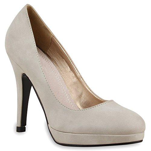 Klassische Damen Pumps Stilettos Business Plateau High Heels Schuhe 55118 Grau 38 Flandell