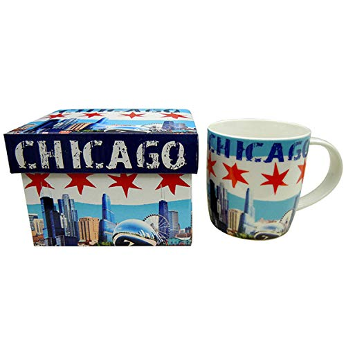 The City of Chicago Colorful Skyline Souvenir Ceramic Coffee Mug Waving Flag of Chicago Long lasting Coffee Cup