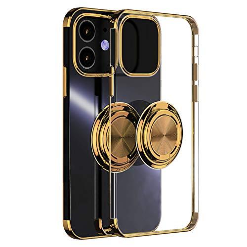 iPhone 12 Pro Max Hülle, Ultra Dünn Clear iPhone 12 Pro Max Handyhülle, TPU Bumper Schutzhülle mit 360 Grad Ring Ständer für Magnetische Autohalterung Metallrahmen Hülle Cover für iPhone 6.7 Zoll