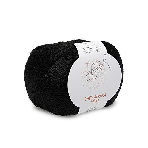 ggh Baby Alpaka Fino, Farbe:001 - Schwarz, 100% Baby Alpaka, 25g Wolle als Knäuel, Lauflänge ca.200m, Verbrauch 175g, Nadelstärke 2,5-3, Wolle zum Stricken und Häkeln