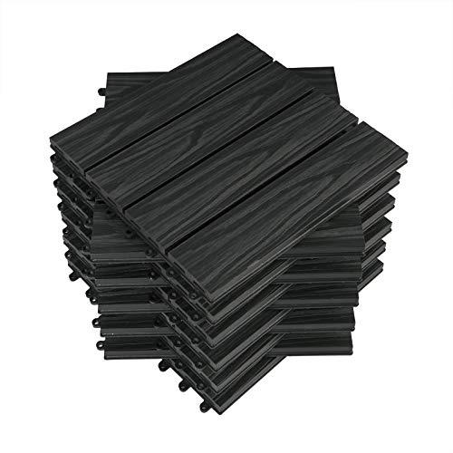 WOLTU 22 x Premium WPC Terrassenfliesen 30x30cm Holz Optik mit Relief, Balkonfliesen Garten Fliesen Bodenbelag Anthrazit (2 m²)