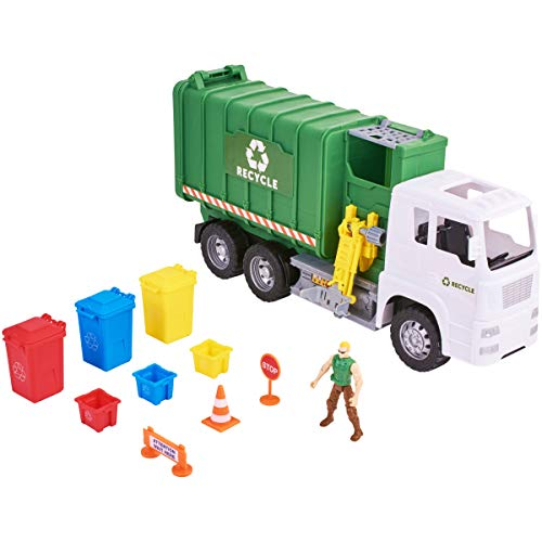 Kid Connection Powered Garbage Truck, Lights and Sounds Rugged Recycling Play Set, 11 Piece