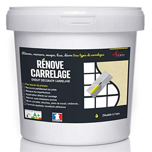 Putz für Fliesen - Fliesen verputzen - Betonbeschichtungs-Effekt - RENOVE CARRELAGE - Alabaster - Kit 10kg - 6.5m² für 2 Schichten