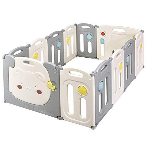 GOPLUS Baby Laufstall inkl. 12 Paneele, Laufgitter Absperrgitter mit Tür Beleuchtung und Spielzeug, Klappbarer Krabbelgitter Spielgitter aus Kunststoff, Stabiler und sicherer Schutzgitter für Kinder