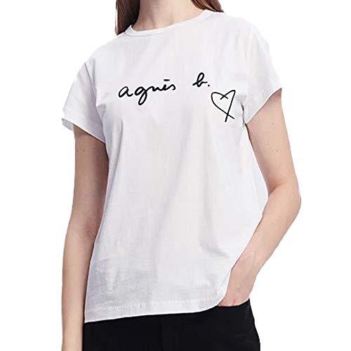 アニエスベー レディース Tシャツ 半袖 カットソー ロゴTシャツ FEMME コットン100% agnes b. 黒 白 ショップバッグ付き (ホワイトハート, 3(L)) [並行輸入品]
