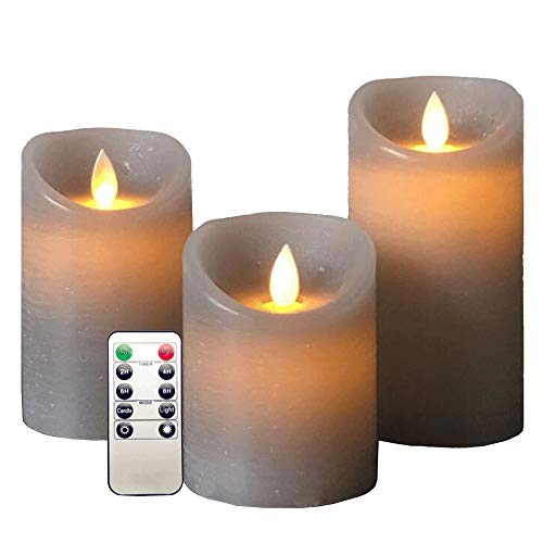 RED SHORE Flameless Grey LED Candles Set of 3,with Remote & Timer Electric Wickless Pillar Battery Operated Flickering Candle,for Festival Celebration Decor