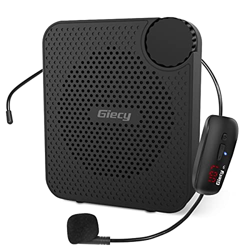 Giecy Amplificador de voz inalámbrico portátil con micrófono inalámbrico UHF de 20W, batería recargable de 2600mah, sistema de megafonía para profesores, guías turísticos, entrenadores, yoga