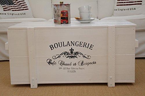 Uncle Joe´s Truhe Boulangerie Couchtisch Truhentisch im Vintage Shabby chic Style aus Massiv-Holz in Weiss mit Stauraum und Deckel Holzkiste Beistelltisch Landhaus Wohnzimmertisch Holztisch weiß
