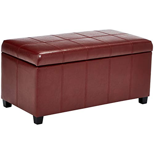 First Hill Damara LiftTop Storage Ottoman Bench with FauxLeather Upholstery Earthy Red