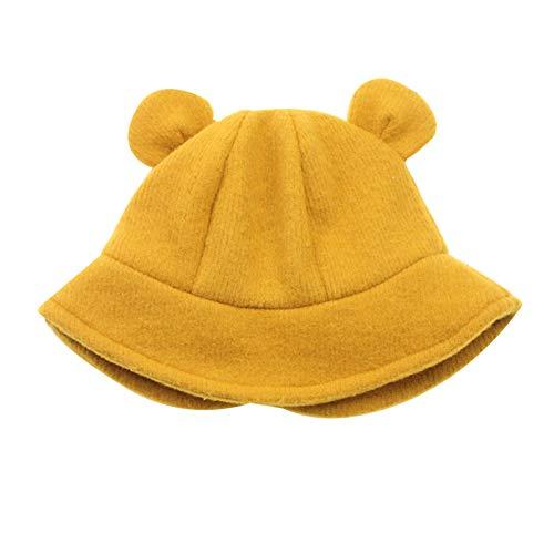 WFF Sombrero Knit Kids Girls Winter Otoño Cubo de otoño Sombrero con Estilo Cálido Cálido Cotton Forrado Gorras para Niños Niños Niños Niños Gorro de puntogorra (Color : Yellow, Size : S 1-8m)