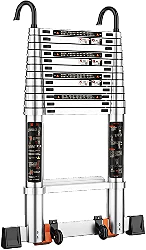 HDSF Aluminum Foldable Industrial Compact Loft Ladder,Aluminum Extension Ladder With Wheels Telescoping Ladder & Loft Roof Hook Kit Telescopic Ladder Foldable Capacity Max Load 150kg/330lb (Size : 5.7