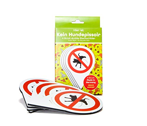 4 Stück Set - Schild Steckschild - Verbot Kein Hunde Pinkeln - 150 x 110 mm - 4 mm Alu Verbundplatte