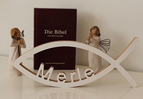 Yourlivingart Geschenk zur Taufe, TAUFGESCHENK MIT Name NACH Wahl in weiß, 30cm