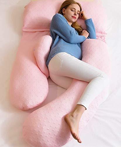 AiLa Almohada de Embarazo en Forma de G-Almohada de Maternidad Ajustable de Cuerpo Completo-Posición del Vientre Inclinada 140cm(Rosa)