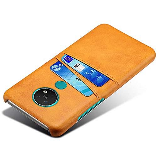 HualuBro Handyhülle für Nokia 7.2 Hülle, Nokia 6.2 Hülle Leder, Ultra Slim Stoßfest Schutzhülle Bumper Hülle Cover Lederhülle Backcover für Nokia 7.2 / Nokia 6.2 Tasche (Orange)
