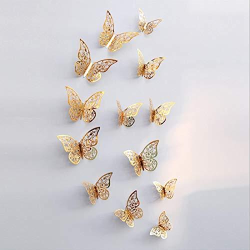 12 st 3D ihålig fjäril väggklistermärken bakgrund metalltextur vardagsrum sovrum för heminredning