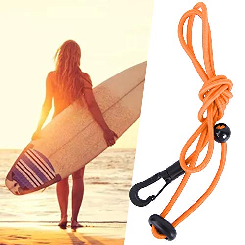 Canoa Kayak Paddle Leash - 120cm Cordón de cuerda elástica de seguridad Cordón de caña de pescar Cordón con mosquetón para remar Kayak Barco Caña de pescar Poste de cordón en espiral Cordón(naranja)