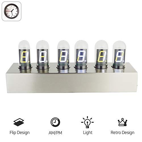 FDYD Tubo Alarm Clock - Reloj de Nixie Tubo Moderno Mirada de la Vendimia Tubo Reloj- indicador Digital del LED, Idea