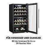 Klarstein Vinamour - Weinkühlschrank, Unterbau/Einbau, EEK A, Touch Control, freistehend, 2 Kühlzonen, Volumen: 80 Liter, 29 Flaschen, Kühltemperatur: 5-22 °C, schwarz - 8