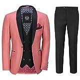 Vestido De Fiesta De 3 Piezas Traje De Tuxedo Esmoquin Boda De Los Hombres De Color De Rosa Quemada Blazer Chaleco Plancha [SUIT-S45-2-34-BURNT-PINK-44UK]