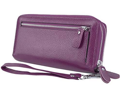 YALUXE Portafoglio Donna 24 Slot per Porta carte credito RFID Blocco in Vera pelle e Tasca per smartphone con Polsino Porpora