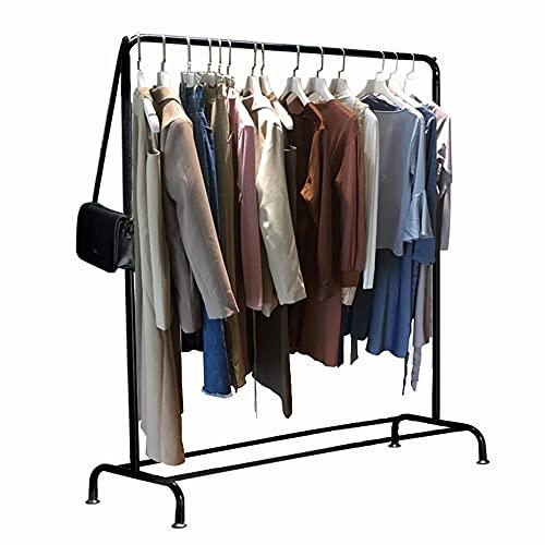 Estante de exhibición de ropa, estante de almacenamiento plegable de hierro forjado, estante de secado del dormitorio del piso al techo, soporte de carga fuerte, estable y práctico/Negro / 150
