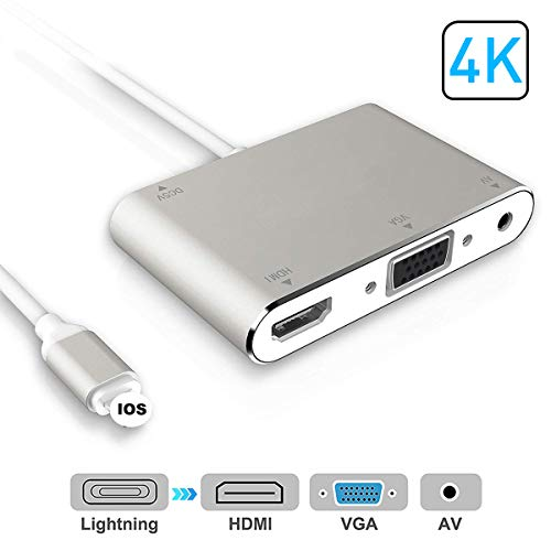 Adaptador HDMI VGA AV, adaptador 4 en 1, compatible con i-Phone X, 8, 8 Plus, 7, 7 Plus, 6S, 6S Plus/5/5s, i-Pad a monitor de proyector HDTV (plata)