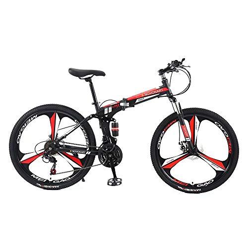 Mountain Bike Pieghevole per Uomini e Donne Adulti, Bicicletta Sportiva da Montagna, MTB con 27-Stage Shift, 26 Pollici 3 Taglierina, Nero&Rosso