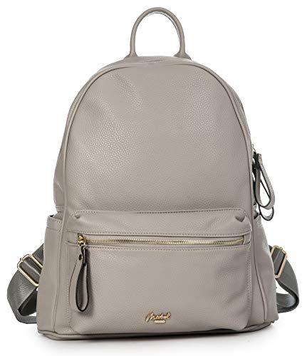 Mabel Mens Womens Backpack Rucksack Bag - Everyday Travel Faux Leather Secure Shoulder Handbag (Large - Light Grey)